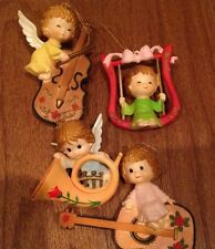 Set of 4 Vintage Musical Angel Ornaments Made in Hong-Kong Christmas Guitar Horn