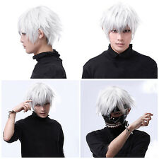 Tokyo Ghoul Kaneki Ken 30cm Short Silver White Synthetic Hair Cosplay Party Wigs