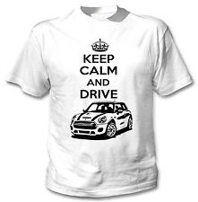 MINI COOPER ispirato Keep Calm and Drive P-T-SHIRT COTONE BIANCO