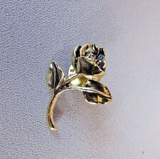 ROSE WITH LEAF'S VINTAGE STYLE DARKER COLORED GOLD TONE COLLECTIBLE LAPEL PIN
