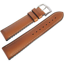 20mm Hirsch Performance James SHORT Smooth Tan Leather Rubber Watch Band Strap
