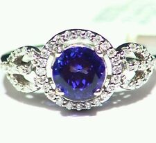 2.30CT 14K GOLD NATURAL CUT TANZANITE WHITE DIAMOND VINTAGE AAA ENGAGEMENT RING