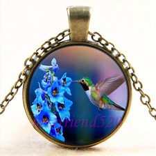 Vintage Hummingbird & Flower Cabochon Glass Bronze Chain Pendant Necklace#1I0