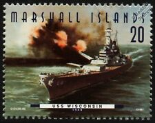 "USS WISCONSIN (BB-64) ""WisKy"" Iowa Class Battleship Warship Stamp (1997)"