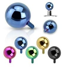 New 5 Pack Anodised Titanium 3mm Ball Dermal Anchor Surface Piercing Value pack