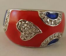 Heart, Red and  Blue  [ N  Ring  ] 925 Sterling Silver with Clear Cubic Zircon