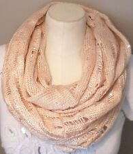 EXPRESS SEQUIN AND METALLIC KNIT PRINT INFINITY SCARF IN PINK! NWT 54.90$