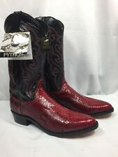 NEW DAN POST PYTHON SNAKESKIN COWBOY WESTERN BOOT RED BLACK CORDOVAN MENS 11.5 D