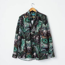 Vtg Abstract Funky Print Oxford Shirt Size L Large Oversized Fleece Flannel Top