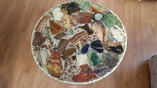 1968 GEMSTONE TABLE! LOT'S OF AGATE LAPIS QUARTZ #2 VINTAGE RESIN TABLE LARGE