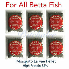 Lot of 6x12g. Mosquito Larvae Betta Food Fighting Fish High Protein 32% Aquarium