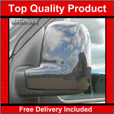 VW CADDY MAXI RHD 15+ CARBON EFFECT DOOR WING MIRROR COVERS TRIM NOT CHROME SET