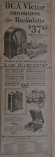 "1931 newspaper ad - RCA Victor ""Radiolette"" with Radiotrons, ""Superette"" radios"