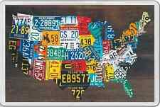Unusual Gift FRIDGE MAGNET MAP OF THE USA IN CAR NUMBER PLATES NEW