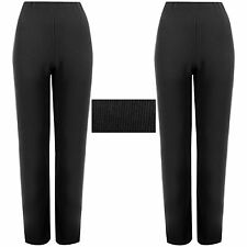 PACK OF 2 LADIES WOMENS STRAIGHT LEG RIBBED TROUSERS STRETCH PULL ON PANTS 8-26