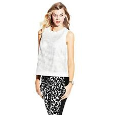 Vince Camuto Graphic Illusion Perforated Vegan Leather Tank Top L NWT $159