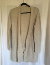 Eileen Fisher Womens L Organic Cotton Long Open Front Cardigan Sweater Ivory