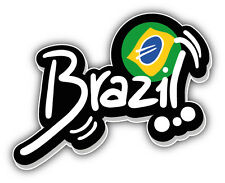 Brazil Flag Label Car Bumper Sticker Decal 5'' x 4''