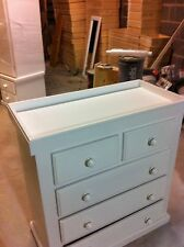 HANDMADE YORKSHIRE WHITE 2+3 DRAW CHEST WITH NAPPY CHANGING TOP (NO FLATPACK)