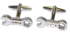 Silver Spanner Wrench Cufflinks With Gift Pouch Mechanic Tools Bolts Present New