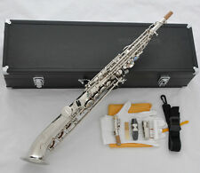 Professional Silver Nickel Soprano saxophone Saxello sax Curved bell Abalone Key