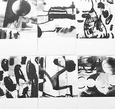 Postkarten Set 6 Karten KREISE Grafik Illustration Zeichnung A6 schwarz-weiß