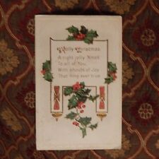 Vintage Postcard A Jolly Christmas Poem With Holly & Berries