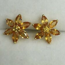 14k Solid Gold Natural Yellow Sapphire Stud Earrings Push Back