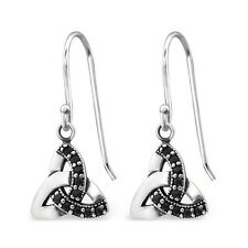 Sterling Silver 925 Black Cubic Zirconia Celtic Triangle Dangle Hook Earrings