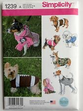 fSEWING PATTERN S1239 DOG PET CLOTHES COATS 5 DESIGNS SIZE SMALL TO LARGE UNCUT