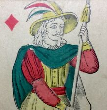 c1850 Knave of Diamonds Playing Cards France Non-Transparent Court Single +COA