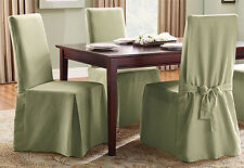 Sure Fit Cotton Duck Long Dining Room Chair Slipcover Sage