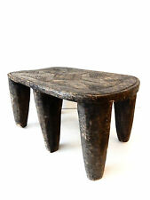 "Superb Old African Nigerian Nupe Milk Stool with six legs 17"" w by 9"" h"