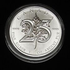 2013 CANADIAN MAPLE LEAF *25th ANNIVERSARY* 1 oz. SILVER $5 COIN *BU*