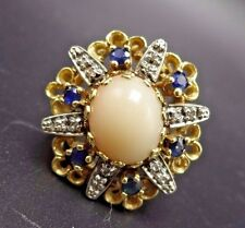 14K Gold ESTATE COCKTAIL RING Pink Angel Skin Coral Sapphire Diamonds, size 7.5