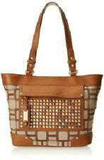 $ 79 Nine West Mini Vegas Signs Tote with Stud Detail Tan/ Khaki NWT