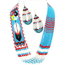 TURQUOISE BLUE SEED BEADED FEATHER LAYERED FEATHER BEADWORK NECKLACE EARRINGS