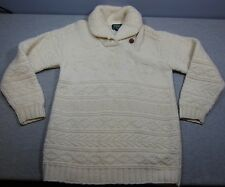 Woman's Ralph Lauren Handknit Ivory Winter 100% Sweater Small Shawl Collar