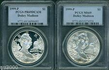 1999-P Dolley Madison Silver Dollar Pcgs Ms69 & Pr69 Pf69 2-Coins Set