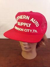 Men's Red Polyester Southern Auto Supply Johnson City Trucker Snapback Cap USA