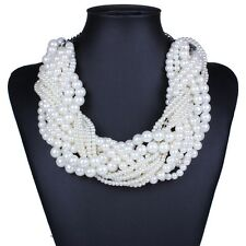 White round pearl beaded twist torsade multiple layers choker collar necklace