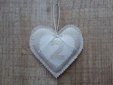 2nd cotton wedding anniversary dove grey shabby chic love Heart Handmade gift