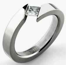 Titanium Bypass Tension Solitaire RING with Square CZ, size 8 - in Gift Box!