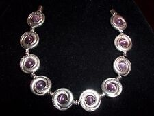 Tibetan SILVER Purple CATS EYE Bead Bracelet MAGNETIC Clasp A-17 Quality Jewelry