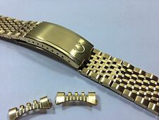 OMEGA YELLOW GOLD PLATED GENTS WATCH STRAP,CURVED ENDS,18MM.RICE BEAD