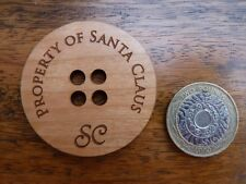 "Large Santa Claus Button : ""Property Of Santa Claus"" Lost/Missing Coat Button"