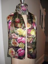 "Silk Scarf Wrap Rose Floral Chinese Pink Green Multi-color ""handmade"""