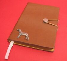 Greyhound Motif A6 Tan Soft Touch Note Book Father Mothers Useful Greyhound Gift