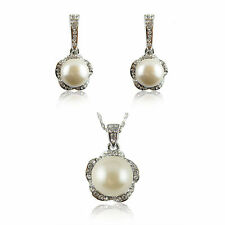 Sets 18k white Gold GF Swarovski crystals pearls earrings pendant necklace