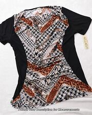 NEW NWT DIVINE DOLL Womens Blouse Multi Color Animal Print Top 2X